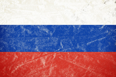 Realistic illustration of Russian flag on torned, wrinkled, dirty, grunge paper poster. 3D rendering.