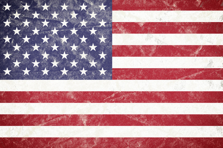 Realistic illustration of USA flag on torned, wrinkled, dirty, grunge paper poster. 3D rendering.
