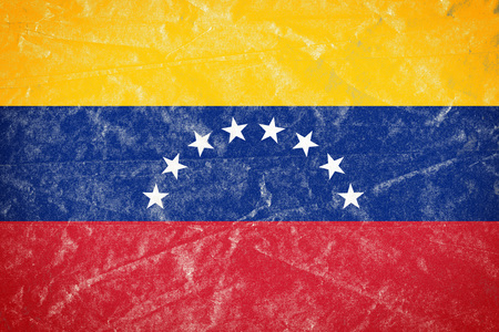 Realistic illustration of Venezuela flag on torned, wrinkled, dirty, grunge paper poster. 3D rendering. Banco de Imagens