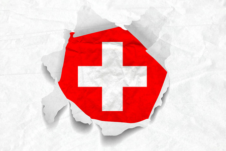 Realistic illustration of Swiss flag on torned, wrinkled, dirty, grunge paper. 3D rendering.
