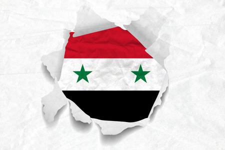 Realistic illustration of Syria flag on torned, wrinkled, dirty, grunge paper. 3D rendering.