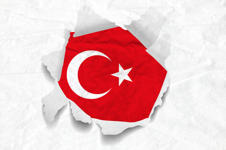 Realistic illustration of Turkish flag on torned, wrinkled, dirty, grunge paper. 3D rendering.