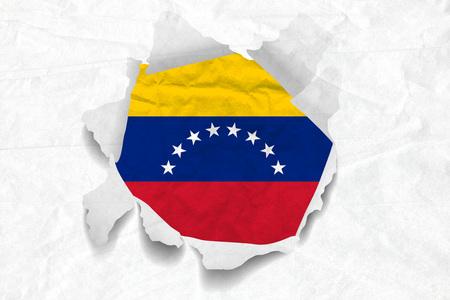 Realistic illustration of Venezuela flag on torned, wrinkled, dirty, grunge paper. 3D rendering.