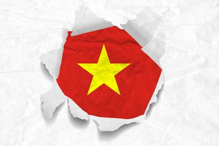 Realistic illustration of Vietnam flag on torned, wrinkled, dirty, grunge paper. 3D rendering. Stock Photo