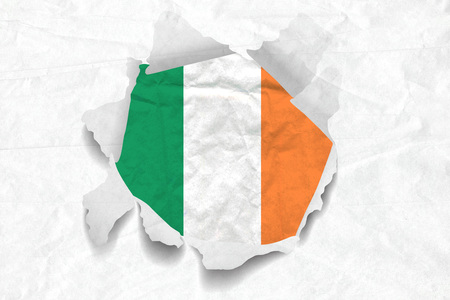 Realistic illustration of Irish flag on torned, wrinkled, dirty, grunge paper. 3D rendering. Stock Photo