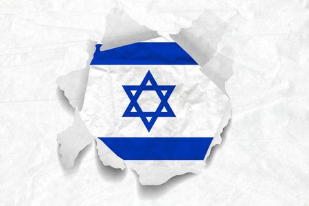 Realistic illustration of Israel flag on torned, wrinkled, dirty, grunge paper. 3D rendering.