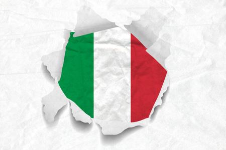 Realistic illustration of Italian flag on torned, wrinkled, dirty, grunge paper. 3D rendering.