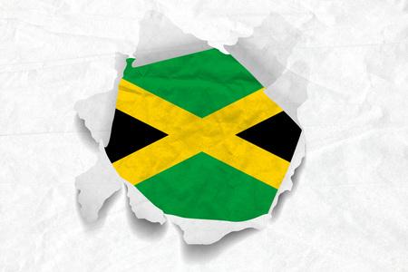 Realistic illustration of Jamaica flag on torned, wrinkled, dirty, grunge paper. 3D rendering.