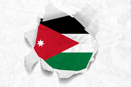 Realistic illustration of Jordan flag on torned, wrinkled, dirty, grunge paper. 3D rendering.