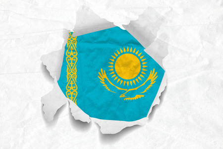 Realistic illustration of Kazakhstan flag on torned, wrinkled, dirty, grunge paper. 3D rendering.