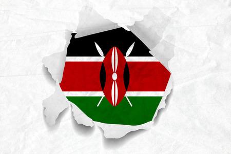 Realistic illustration of Kenya flag on torned, wrinkled, dirty, grunge paper. 3D rendering.