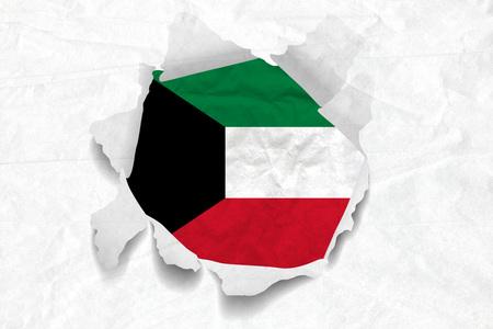 Realistic illustration of Kuwait flag on torned, wrinkled, dirty, grunge paper. 3D rendering.
