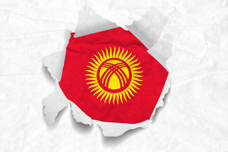 Realistic illustration of Kyrgyzstan flag on torned, wrinkled, dirty, grunge paper. 3D rendering.