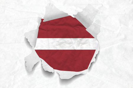 Realistic illustration of Latvia flag on torned, wrinkled, dirty, grunge paper. 3D rendering. Stock Photo
