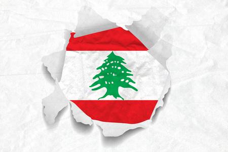 Realistic illustration of Lebanon flag on torned, wrinkled, dirty, grunge paper. 3D rendering.