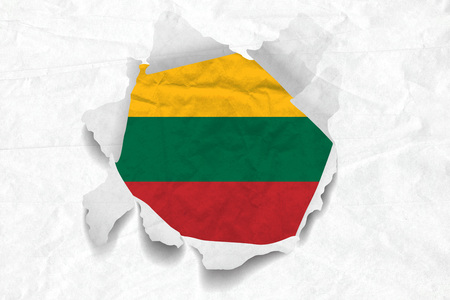 Realistic illustration of Lithuania flag on torned, wrinkled, dirty, grunge paper. 3D rendering.