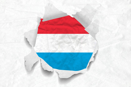 Realistic illustration of Luxembourg flag on torned, wrinkled, dirty, grunge paper. 3D rendering.