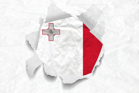 Realistic illustration of Malta flag on torned, wrinkled, dirty, grunge paper. 3D rendering.