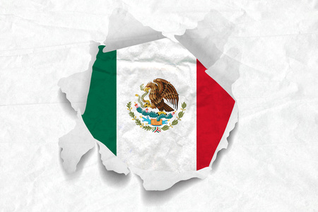 Realistic illustration of Mexican flag on torned, wrinkled, dirty, grunge paper. 3D rendering. Stock Photo