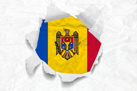 Realistic illustration of Moldova flag on torned, wrinkled, dirty, grunge paper. 3D rendering. Stock Photo