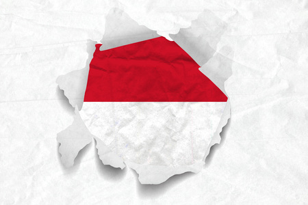 Realistic illustration of Monaco flag on torned, wrinkled, dirty, grunge paper. 3D rendering. Stock Photo