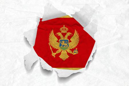 Realistic illustration of Montenegro flag on torned, wrinkled, dirty, grunge paper. 3D rendering.
