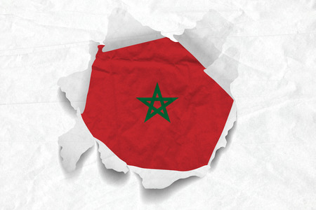 Realistic illustration of Morocco flag on torned, wrinkled, dirty, grunge paper. 3D rendering. Stock Photo