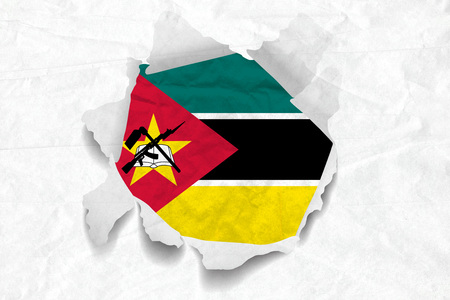 Realistic illustration of Mozambique flag on torned, wrinkled, dirty, grunge paper. 3D rendering. Stock Photo
