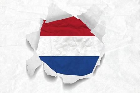 Realistic illustration of Netherlands flag on torned, wrinkled, dirty, grunge paper. 3D rendering.