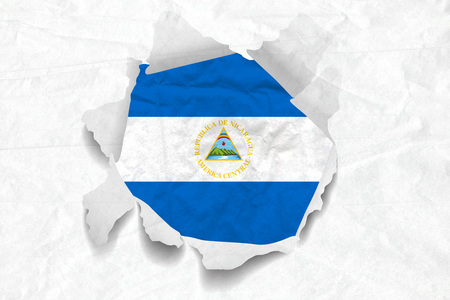 Realistic illustration of Nicaragua flag on torned, wrinkled, dirty, grunge paper. 3D rendering. Stock Photo
