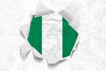 Realistic illustration of Nigeria flag on torned, wrinkled, dirty, grunge paper. 3D rendering. Stock Photo
