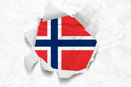 Realistic illustration of Norwegian flag on torned, wrinkled, dirty, grunge paper. 3D rendering.