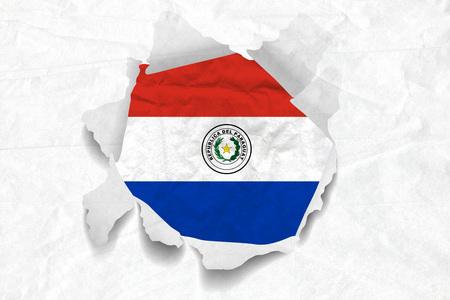 Realistic illustration of Paraguay flag on torned, wrinkled, dirty, grunge paper. 3D rendering.