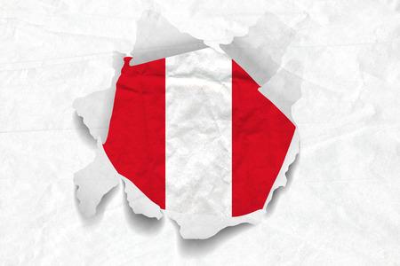 Realistic illustration of Peru flag on torned, wrinkled, dirty, grunge paper. 3D rendering.