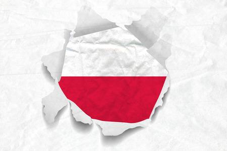 Realistic illustration of Poland flag on torned, wrinkled, dirty, grunge paper. 3D rendering.