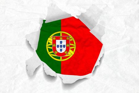 Realistic illustration of Portugal flag on torned, wrinkled, dirty, grunge paper. 3D rendering.