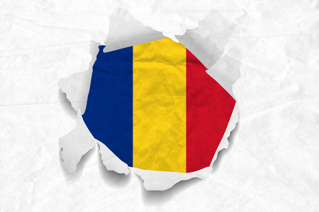 Realistic illustration of Romanian flag on torned, wrinkled, dirty, grunge paper. 3D rendering. Фото со стока