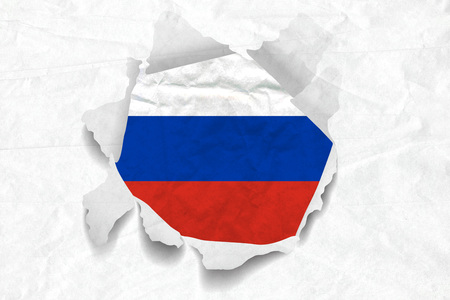 Realistic illustration of Russian flag on torned, wrinkled, dirty, grunge paper. 3D rendering. Stock Photo