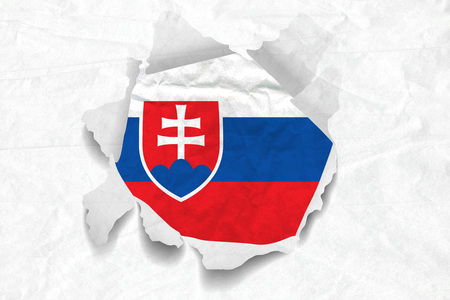 Realistic illustration of Slovakia flag on torned, wrinkled, dirty, grunge paper. 3D rendering. Stock Photo