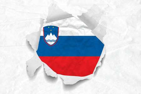 Realistic illustration of Slovenia flag on torned, wrinkled, dirty, grunge paper. 3D rendering.