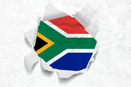 Realistic illustration of South African flag on torned, wrinkled, dirty, grunge paper. 3D rendering.