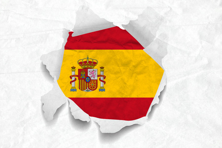 Realistic illustration of Spanish flag on torned, wrinkled, dirty, grunge paper. 3D rendering.