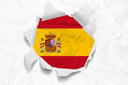 Realistic illustration of Spanish flag on torned, wrinkled, dirty, grunge paper. 3D rendering.