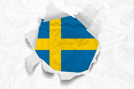 Realistic illustration of Swedish flag on torned, wrinkled, dirty, grunge paper. 3D rendering.