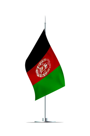 Small Afghanistan flag  on a metal pole. The flag has nicely detailed textile texture. Isolated on white background. 3D rendering.