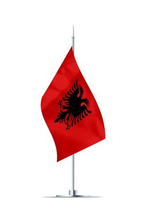Small Albania flag  on a metal pole. The flag has nicely detailed textile texture. Isolated on white background. 3D rendering. Stock Photo