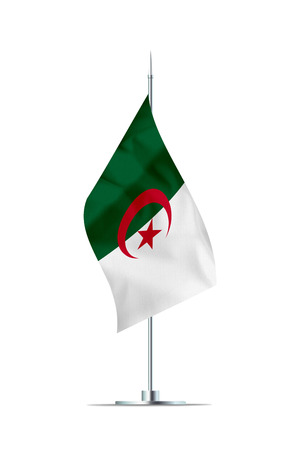 Small Algeria flag  on a metal pole. The flag has nicely detailed textile texture. Isolated on white background. 3D rendering. Stock Photo