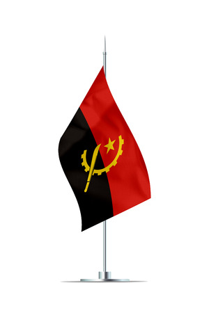 Small Angola flag  on a metal pole. The flag has nicely detailed textile texture. Isolated on white background. 3D rendering. Stock Photo