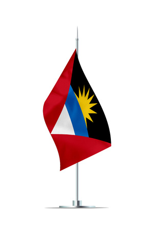 Small Antigua Barbuda flag  on a metal pole. The flag has nicely detailed textile texture. Isolated on white background. 3D rendering. Stock Photo