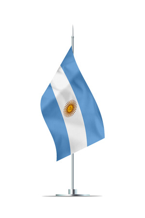 Small Argentinian flag  on a metal pole. The flag has nicely detailed textile texture. Isolated on white background. 3D rendering.